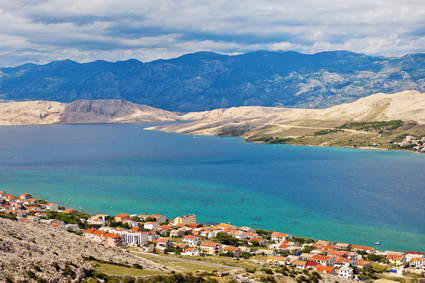Panorama of Pag city, the largest city on Pag island, Croatia