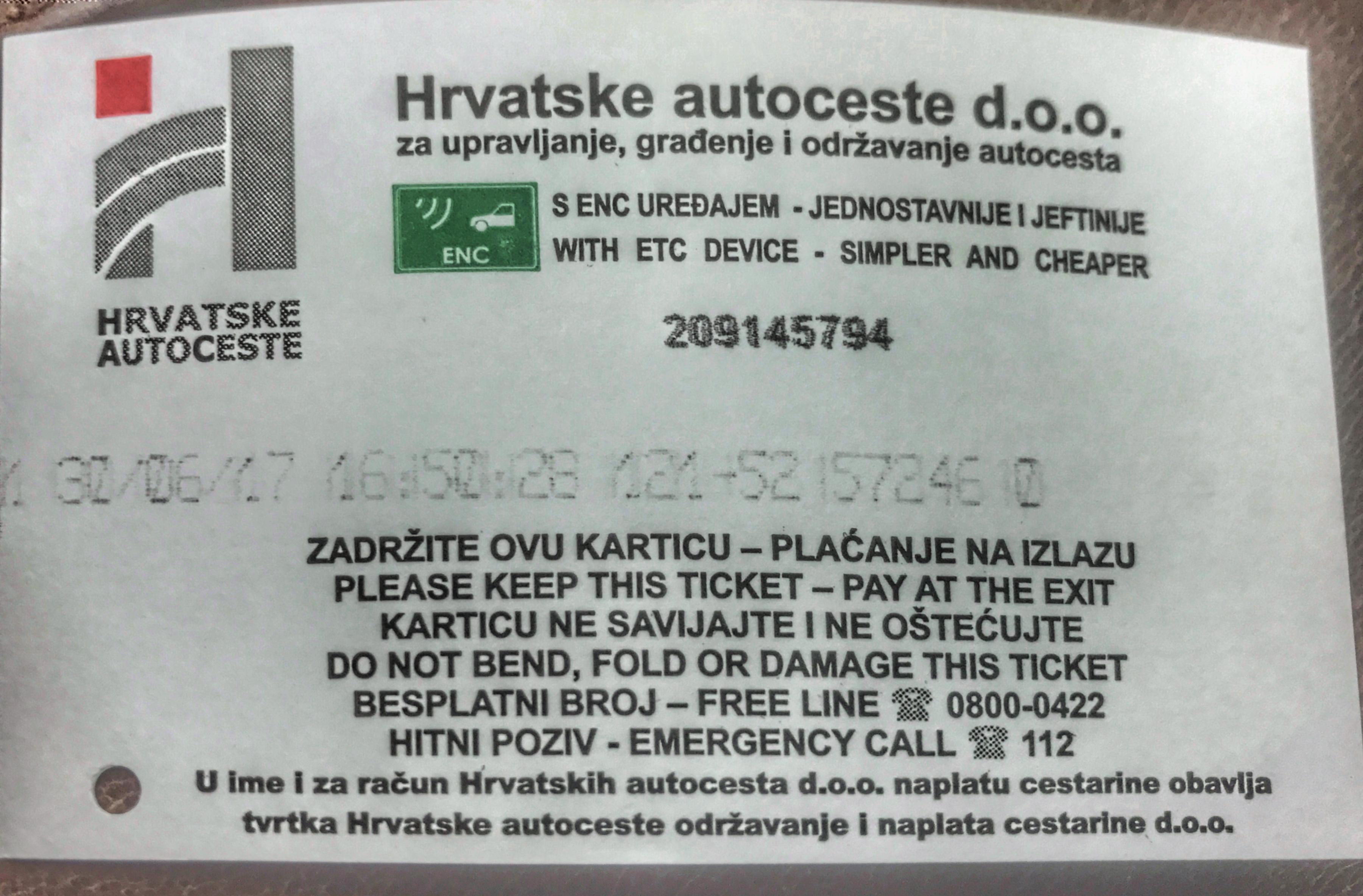 Driving in Croatia - motorway toll ticket