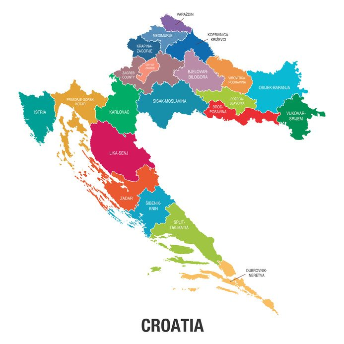 Map of Croatian counties