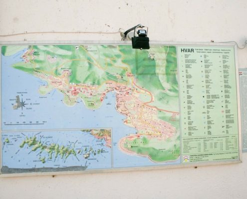 Photos of Hvar - Map at Spanjola Fortress