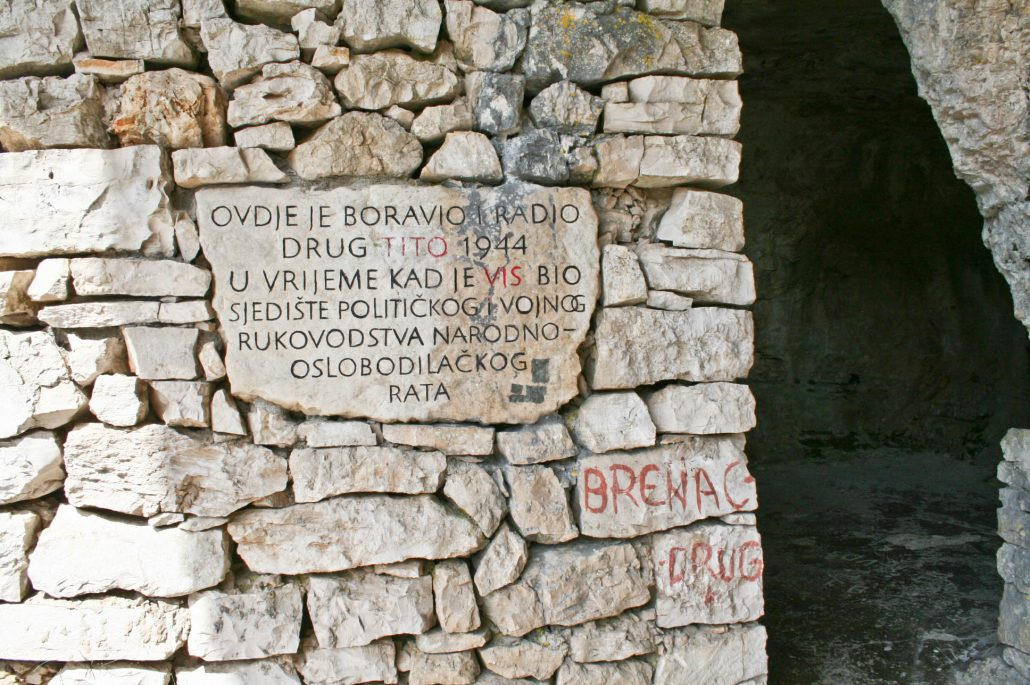 Photos of Vis - Tito's cave and resistance movement sign