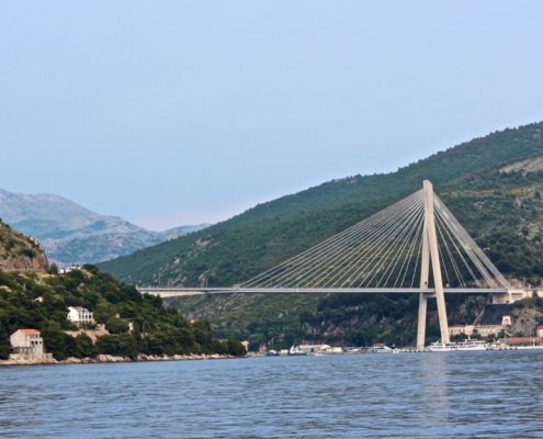 Photos of the Elafiti Islands - The Franjo Tuđman Bridge, a cable-stayed bridge carrying the D8 state road, near Port of Gruž