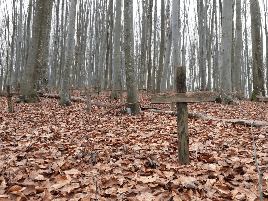 Petrova Gora unmarked graves by the Partisan Hospital complex