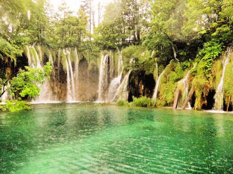 Waterfalls and lake