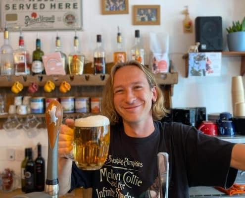Ed Thomas at his bar, the Amedea